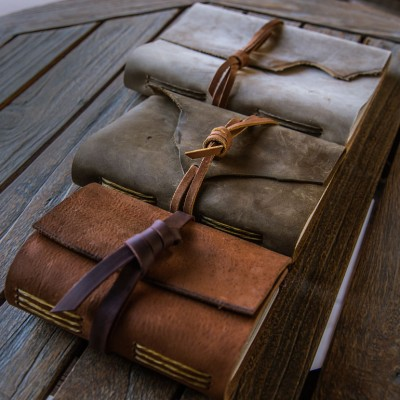 The leather journal by Trekker Leather Co comes in three different colors and sizes