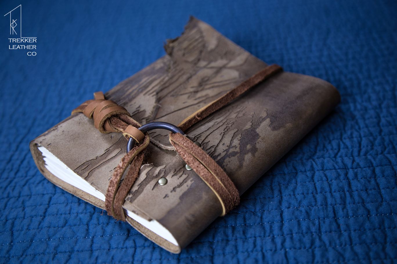 The Trekker Leather Company has a great collaboration with local laser engraving companies to make journals stunning