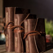 This is the Chestnut Leather Journal made by Trekker Leather Co