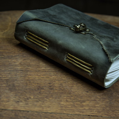 This is a green leather journal made out of green leather