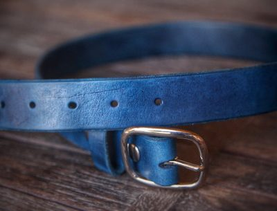 The Blue Leather Belt by Trekker Leather Co