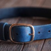The Blue Leather Belt made by Trekker Leather Co