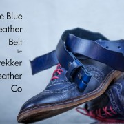 This is a pair of Allen Edmond blue wingtip shoes with the Blue Leather Belt by Trekker Leather Co