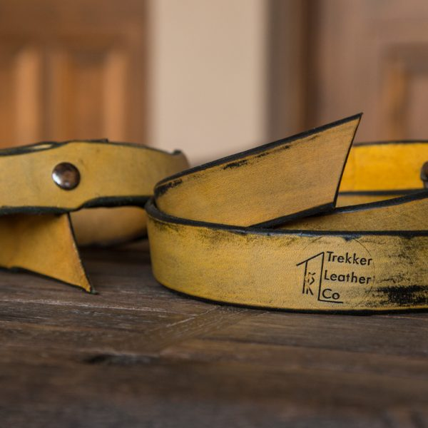 Two Yellow Leather Belts by Trekker Leather Co