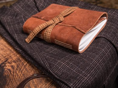 Tan Leather Journal with Plaid