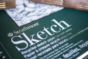 Strathmore Recycled Sketchpaper is the only paper used in Trekker Leather Co's small and medium leather journals and leather sketchbooks.