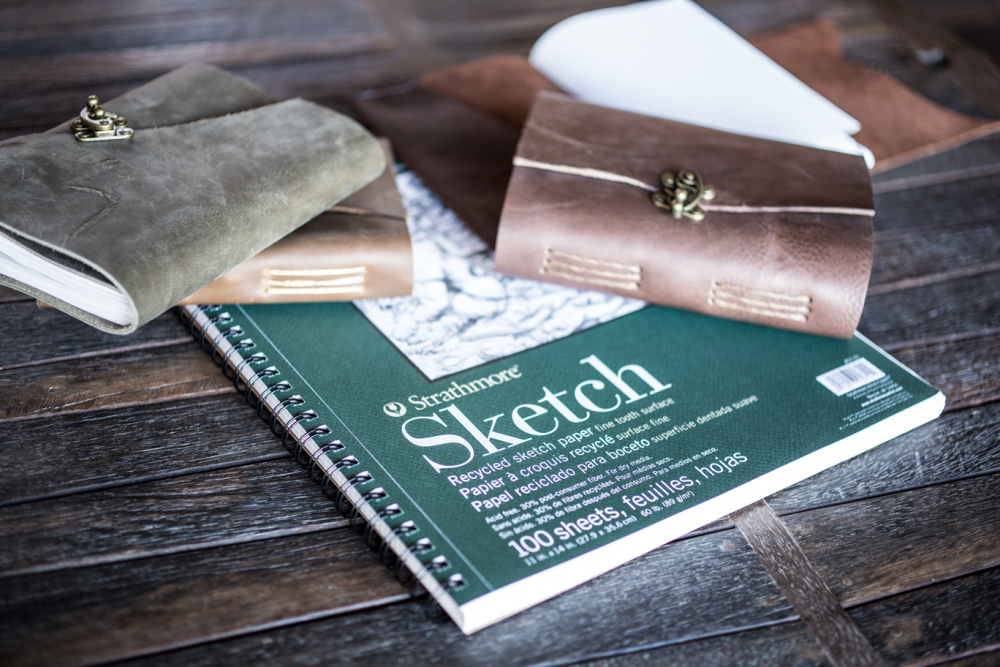 Trekker Leather Co only uses Strathmore Recycled Sketch Paper in their Small and Medium Leather Journals and Leather Sketchbooks
