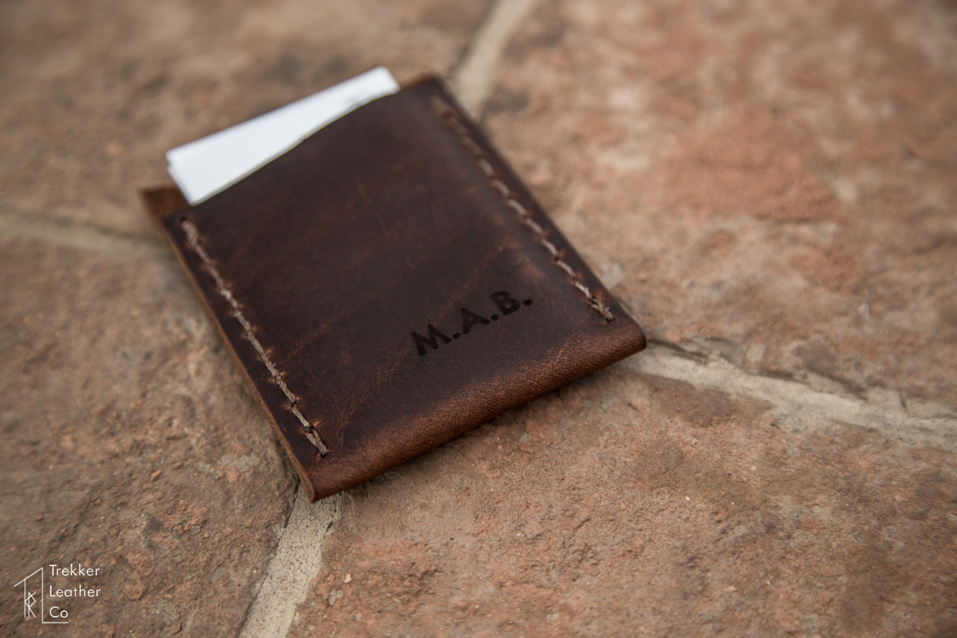 leather business card sleeve  trekker leather co