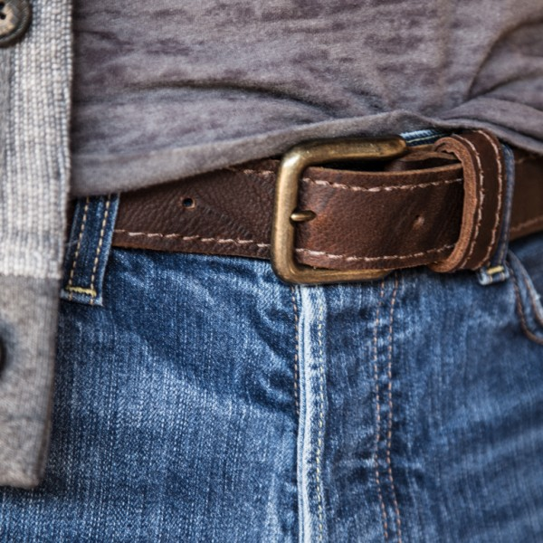 The Bear Belt by Trekker Leather Co is being worn here with a Ted Baker sweater
