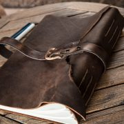 This leather bound sketchbook is made out of Brazilian kodiak leather