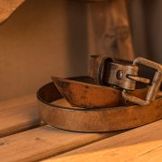 leather coffee belt by Trekker Leather Co