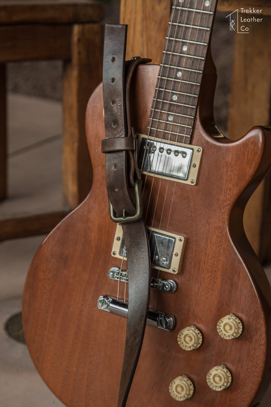 leather electric guitar strap handmade in the usa trekker leather co. Black Bedroom Furniture Sets. Home Design Ideas