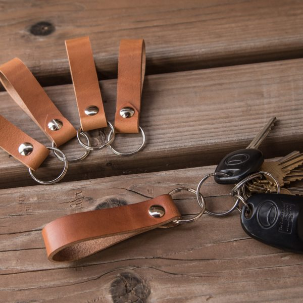 Italian leather keychains by Trekker Leather Co